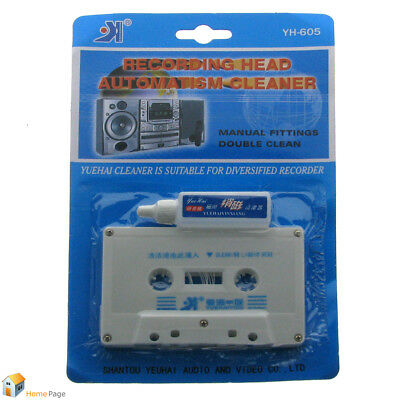 Audio Tape Cassette Head Cleaner Kit Wet Solution Maintenance Cleaning