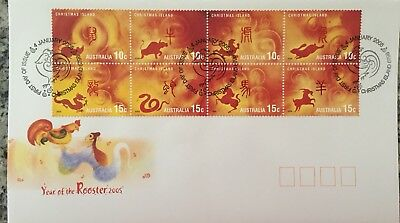 2005 Christmas Island Year Of The Rooster Zodiac Sheetlet  FDC First Day Cover