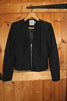763729d7dce99 Asos Size 12 cropped designer ladies zipped fitted short black jacket