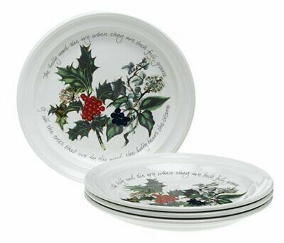 """Portmeirion Holly and Ivy Salad Plates Set of 6 8.5"""""""" Diameter Earthenware New"""