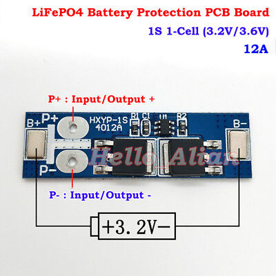 1S 12A 3.6V LiFePo4 LiFe 3.2v 18650 Battery BMS Charger Protection PCB Board PCM
