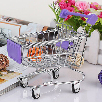 Dollhouse Miniature Stainless Steel Supermarket Shopping Cart Scale Model :