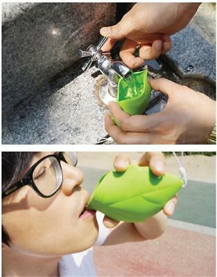 Mini Creative Soft Silicone Leaf Shape Outdoor Camping Pocket Drink Water Cup N7