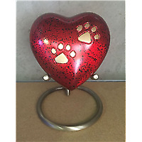 Pet Urn Red Heart with Stand
