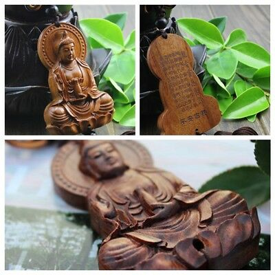 Jujube Wood Carving Red Chinese Kwan Yin Buddha Statue Sculpture Car Pendant New