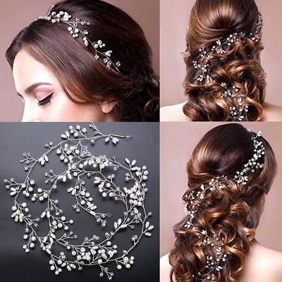 Women Pearl Wedding Hair Vine Crystal Bridal Accessories Diamante Headband p;au