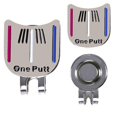 Golf Ball Marker Putting Alignment Aiming Tool + Magnetic Hat Clip Silver UK;au