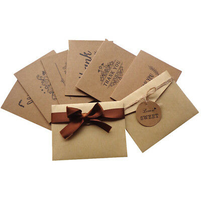 Pack Of 12 Vintage Natural Kraft Paper Folded Thank You Cards With Envelopes New