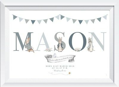 Personalised Peter Rabbit child baby name print picture boy nursery wall decor