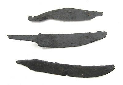 Authentic Lot Of 3 Medieval Viking Era Iron Skinning / Torture D@ggers - E381