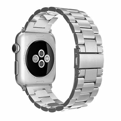 Simpeak Silver Stainless Steel Band Strap for Apple Watch 42mm Series 1/2/3