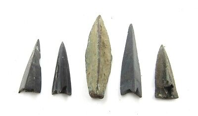 Authentic Lot Of 5 Ancient Scythian Bronze Arrow Heads - E383
