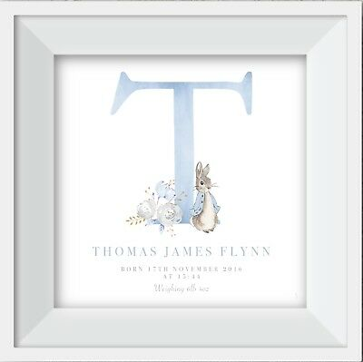 Personalised Peter Rabbit baby child name print picture gift nursery wallart boy