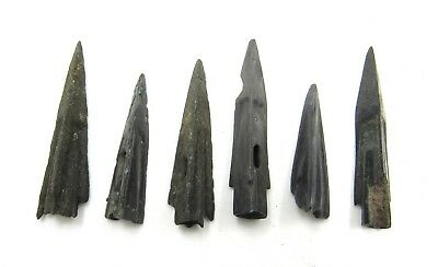 Authentic Lot Of 6 Ancient Scythian Bronze Arrow Heads - E384