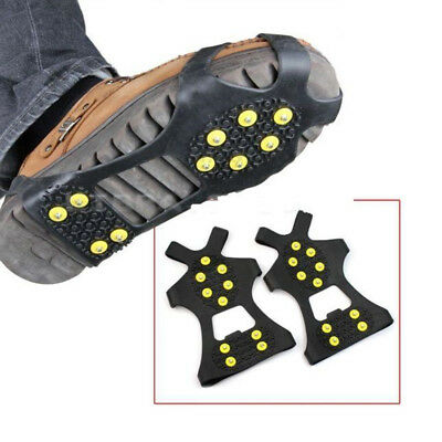 10-Stud Anti Skid Shoe Covers Climbing Crampons Ice Snow Boot Stud Spike Cleats