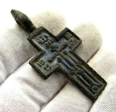 Authentic Medieval / Post Medieval Bronze Cross Pendant - Wearable - E398