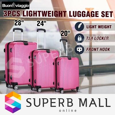 3x Lightweight Expandable Spinner Travel Luggage Suitcase Set Trolley Rose Red
