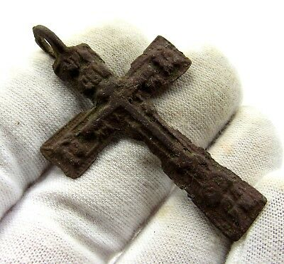 Authentic Medieval / Post Medieval Bronze Cross Pendant - Wearable - E399
