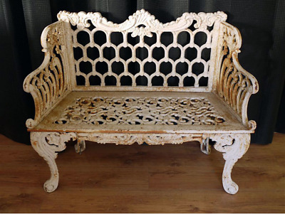 Stunning Heavy Shabby Chic Ornate Rustic Cast Iron Horse Shoe Garden Bench 542
