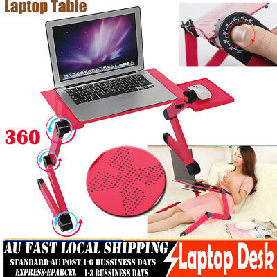 AU Adjustable Portable Laptop Computer Stand Desk Table Tray On Bed Mouse Tray