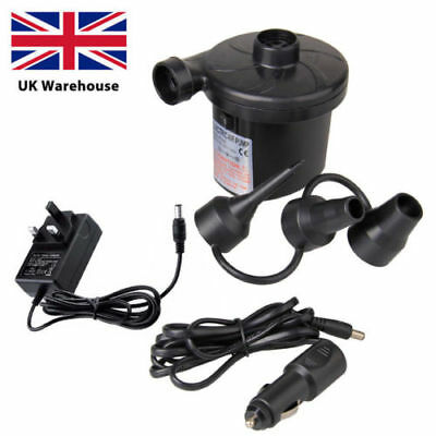 UK 2in1 Electric Air Pump Inflator for Inflatables Camping Bed Pool 12V Car 240V