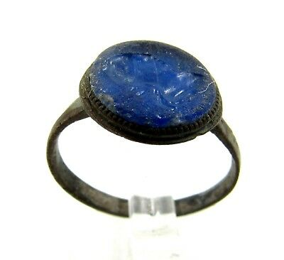 Authentic Medieval Bronze Tudor Era Ring W/ Blue Intaglio Bust - E409