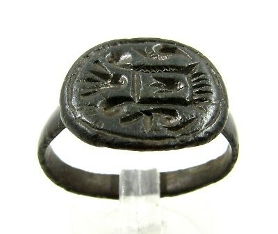 Authentic Medieval Crusaders Bronze Heraldic Crest Seal Ring - Wearable - E414