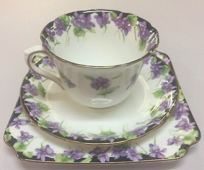 Royal Doulton Violets Trio Cup Saucer And Plate English H3747