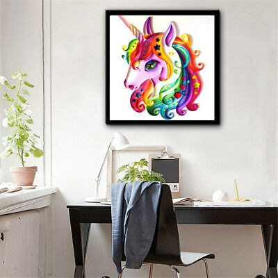 Colorful Unicorn DIY 5D Diamond Painting Embroidery Craft Cross Stitch Kit EL