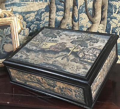 Antique English Lace Box Embroidered Needlework Stumpwork Late 17th Century