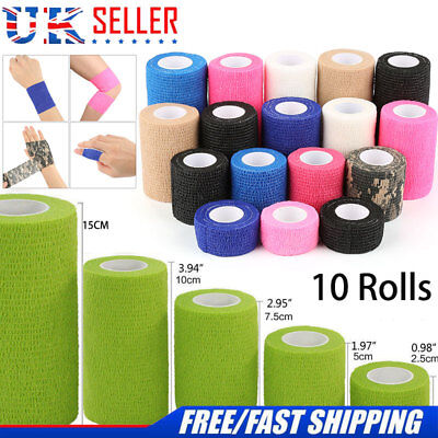 PACK OF 10 or 5 Cohesive Elastic Bandage vet wrap equine animal human UK