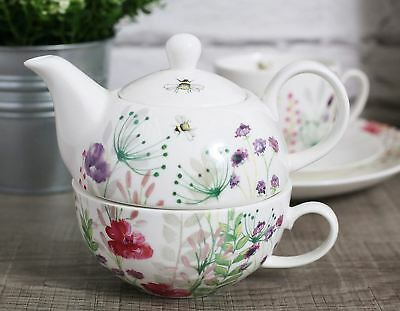 English Tableware Company In Bloom Fine China Tea for One Teapot and Tea Cup Set