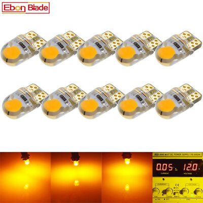 10 x Amber Orange Yellow T10 W5W COB 2 SMD Silicone LED Light Bulb Lamp For Cars