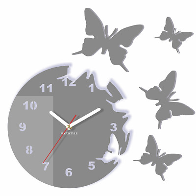 Modern Grey Butterflies Large Wall Clock Home Decor Living Room Bedroom Round