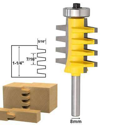 8mm Shank Rail Reversible Finger Joint Glue Router Bit Milling Cutters Tool