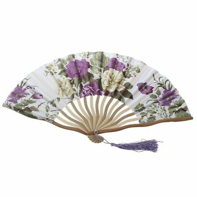 2X(Chinese Floral Pattern Fabric Bamboo Frame Foldable Hand Fan Brown W8R3)