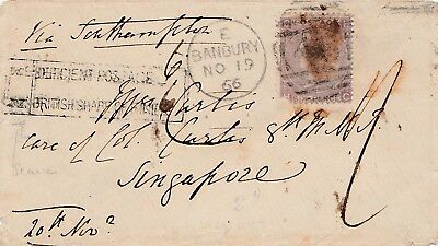 Straits 1866.singapore Incoming Cover With Tax Marking.postage Due Cover Malaya