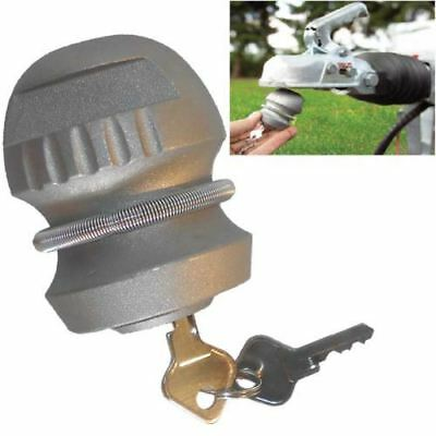New Anti Theft Towed Insertable Coupling Hitch Lock For Caravans Trailers 2 Keys