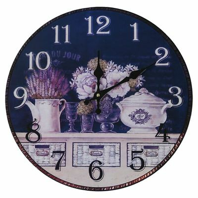 2X(Vintage Antique Style 34cm Wall Clock Home Bedroom Retro Kitchen Quartz H2R3)