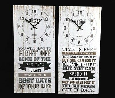 Wooden Wall Clock - Bad Days / Spend it - 28 x 56 x 5CM - Choose Option Required