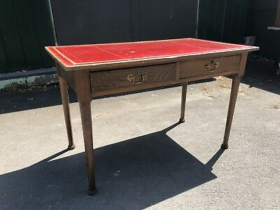 Oak Desk with Red Leather Top