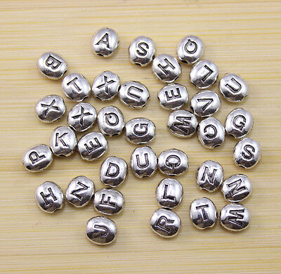 100/300/500 pcs Very beautiful letter beads Tibet silver interval beads 6.5x6 mm