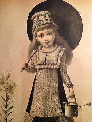 Antique Victorian Scrap Album Image Little Girl With Watering Can
