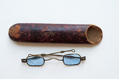 Antique Spectacles Glasses Benjamin Franklin Style Blue Tint No Rx Sunglasses