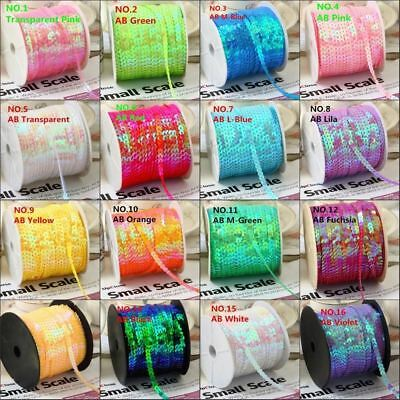 100Yard 6mm AB Plating Color Spangle Sequins Ribbon on Trim,Flat Round Sequin Se