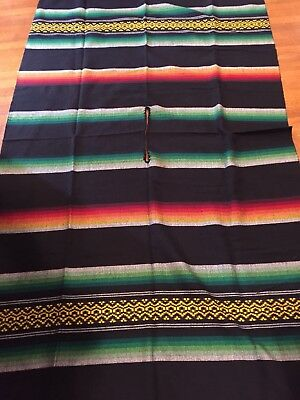 MEXICAN PONCHO, CAPE, SERAPE, BLANKET,Black,Green,Red, Yellow,Mexico,Fringe