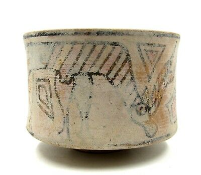 Authentic Ancient Indus Valley Terracotta Bowl W/ Stag & Griffin - L754