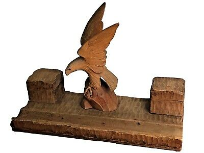 NP242 * Eagle Bird Black Forest Wood Carved Inkwell German Antique 1930's
