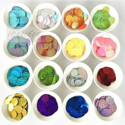 288pcs/lot 20mm Round Sequins PVC Laser Paillette sewing Craft Flat With Side Ho