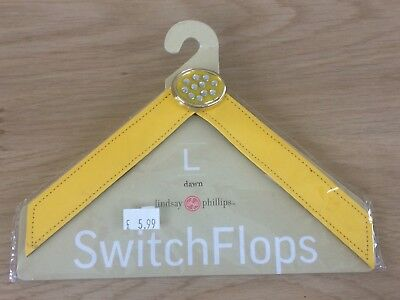 Lindsay Phillips Switch Flops Strap Dawn Yellow Patent Size Large UK 6,7,8